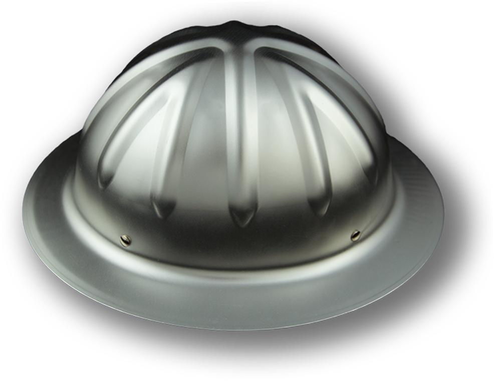 The classic raw aluminum hard hat